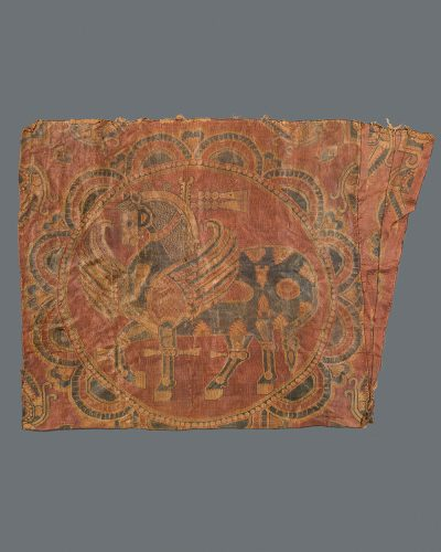 Textile Fragment with Rows of Facing Birds Holding Necklaces